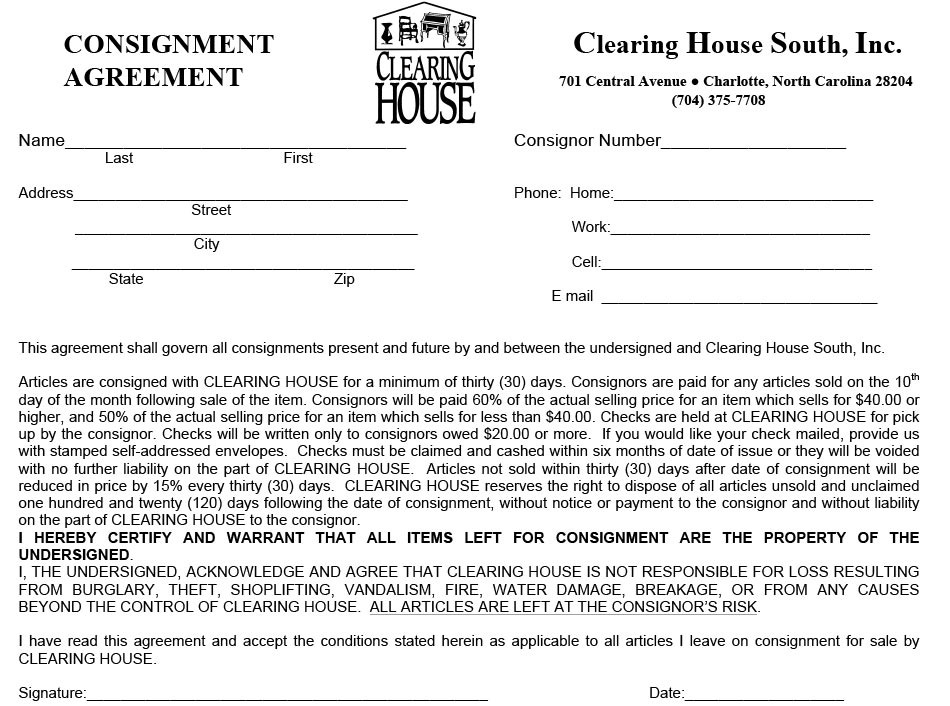 (For A Printable Copy Of The Contract, Click Here)  Free Consignment Agreement